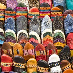Colorful babiuches at souk in Fez, Morocco