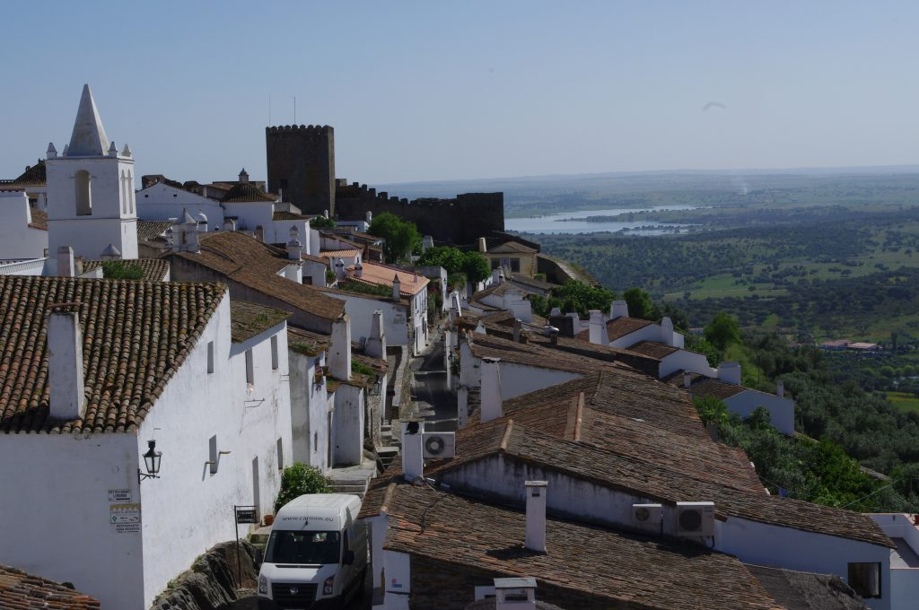 A tiny Medieval walled town located an hour or so to the east of Evora. The Guadiana River in the background marks the border with Spain. It is an ancient hilltop fortress town that has changed hands many times over the years. It was captured from the Moors by Geraldo the Fearless in 1167, given to the Knights Templar, and involved in various clashes with Spain over the centuries.