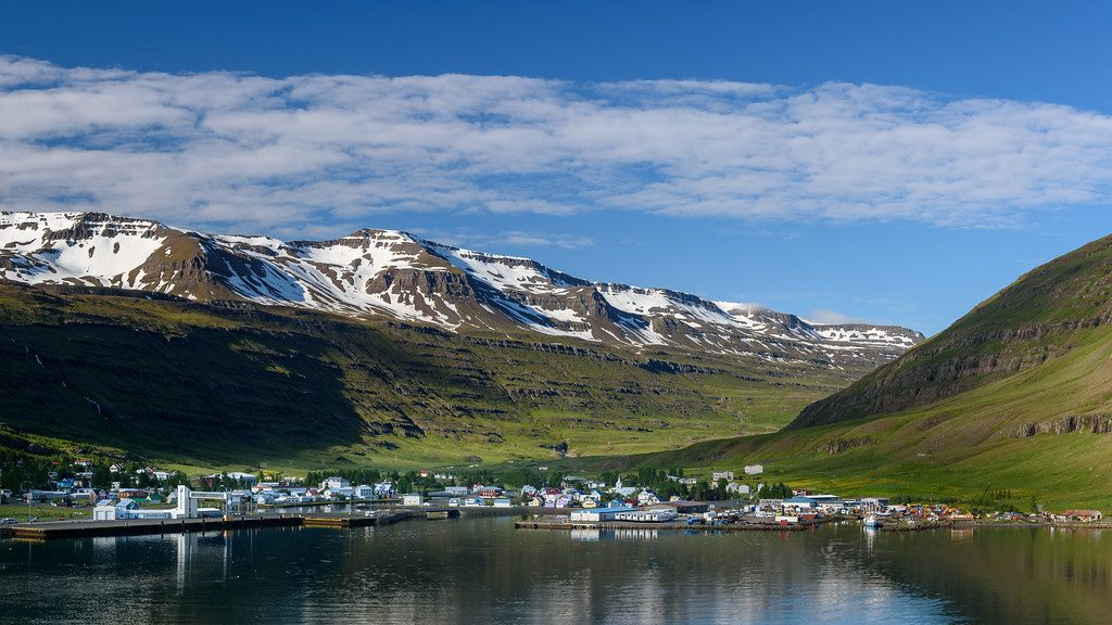 The beautiful village of Seyðisfjörður, our first stop in Iceland on a beautiful summer day.