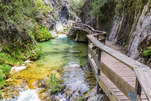 Boardwalk through Cerrada de Elias gorge in Cazorla National Park, Spain