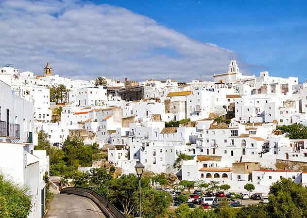White buildings of Vejer de la Frontera (pueblo blanco) on a sunny day.